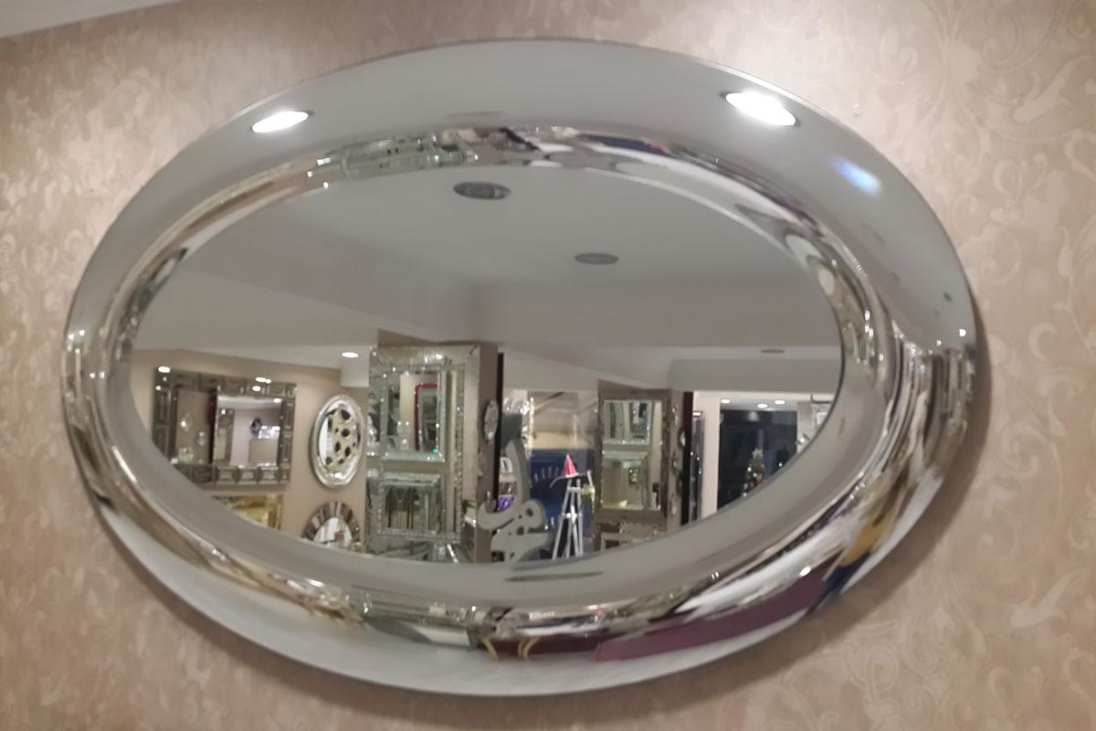 bombeli oval modern salon aynası